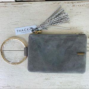 Thacker NWT Nolita Clutch in Asphalt Suede/Gold